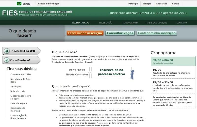 MEC criou novo site de inscrições do Fies para o segundo semestre de 2015